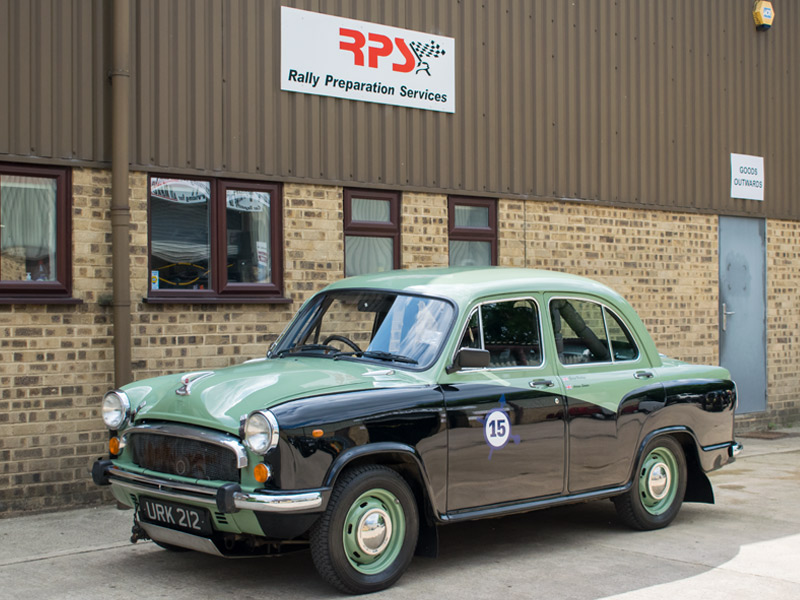 1958 Morris Oxford Endurance Rally Car outside RPS